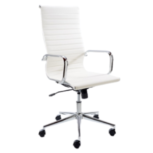 Mogul Bonded Leather High Back Chair (White)